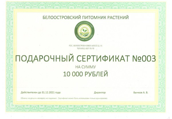 Подарочный сертификат на покупку растений 10000р
