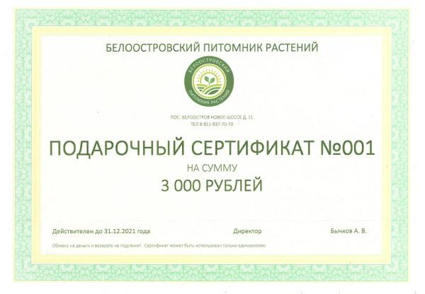Подарочный сертификат на покупку растений 3000р